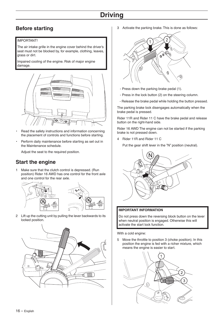 Before starting, Start the engine, Driving | Husqvarna 16 AWD User Manual |  Page