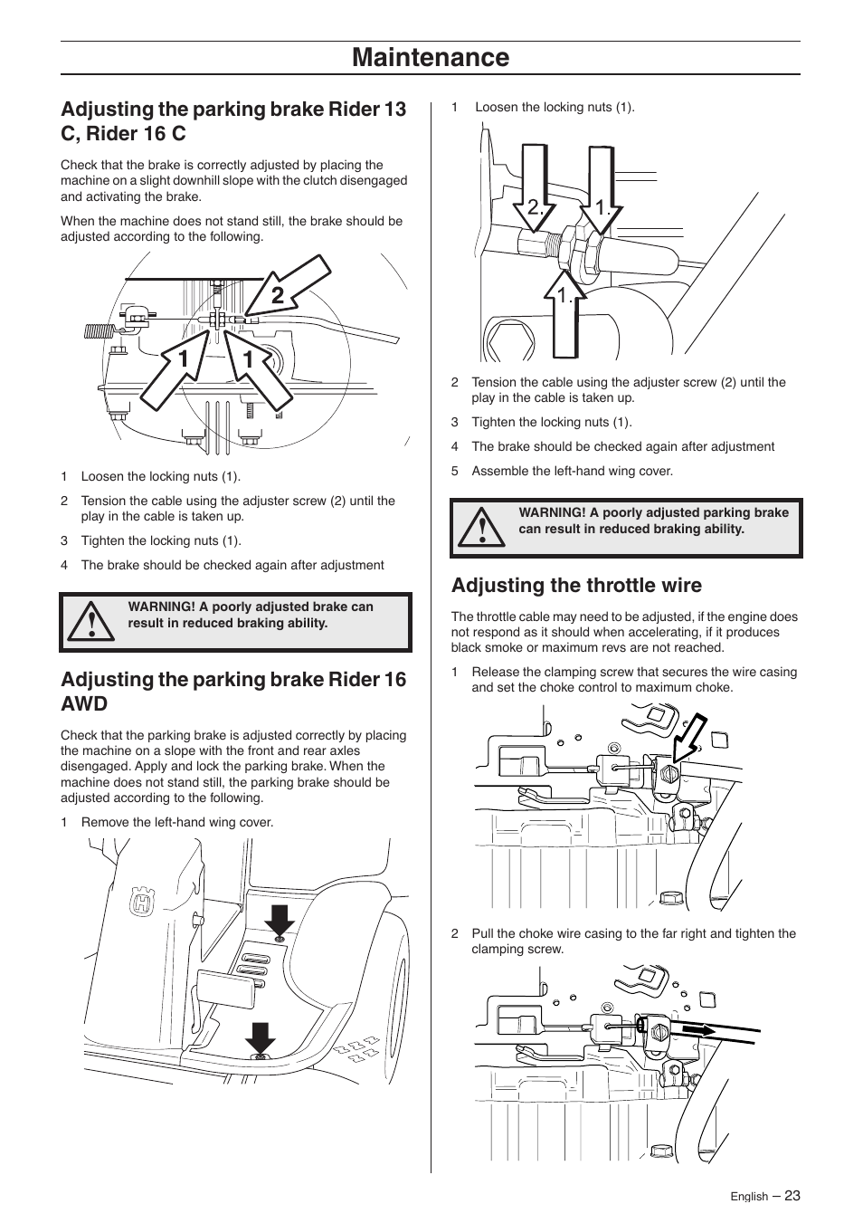 Adjusting the parking brake rider 13 c, rider 16 c, Adjusting the parking  brake rider 16 awd, Adjusting the throttle wire | Husqvarna 16 AWD User  Manual ...