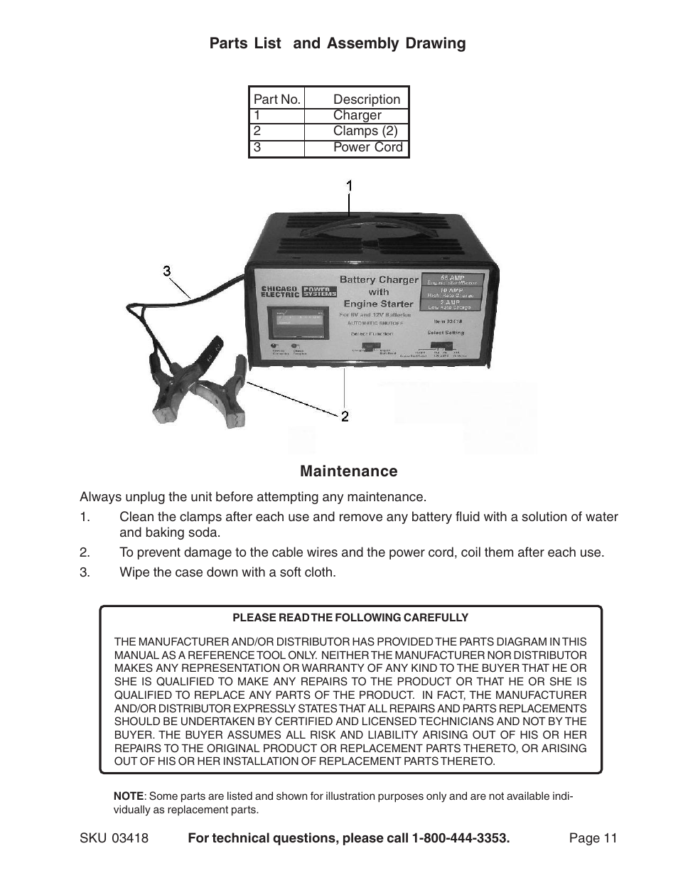 Harbor Freight Tools 03418 User Manual | Page 11 / 11 on sears battery charger schematic, harbor freight inverter schematic, dell battery charger schematic, harbor freight drill schematic,