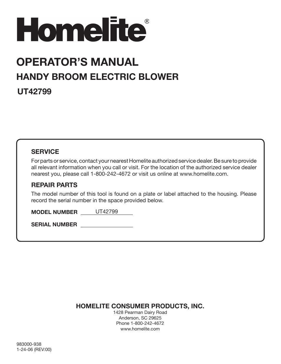 Operator's Manual, Handy Broom Electric Blower