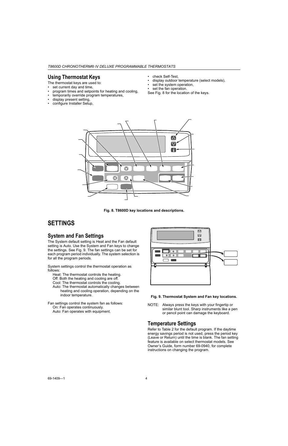 Using thermostat keys, Settings, System and fan settings | Honeywell  Chronotherm IV T8600D User Manual | Page 4 / 12
