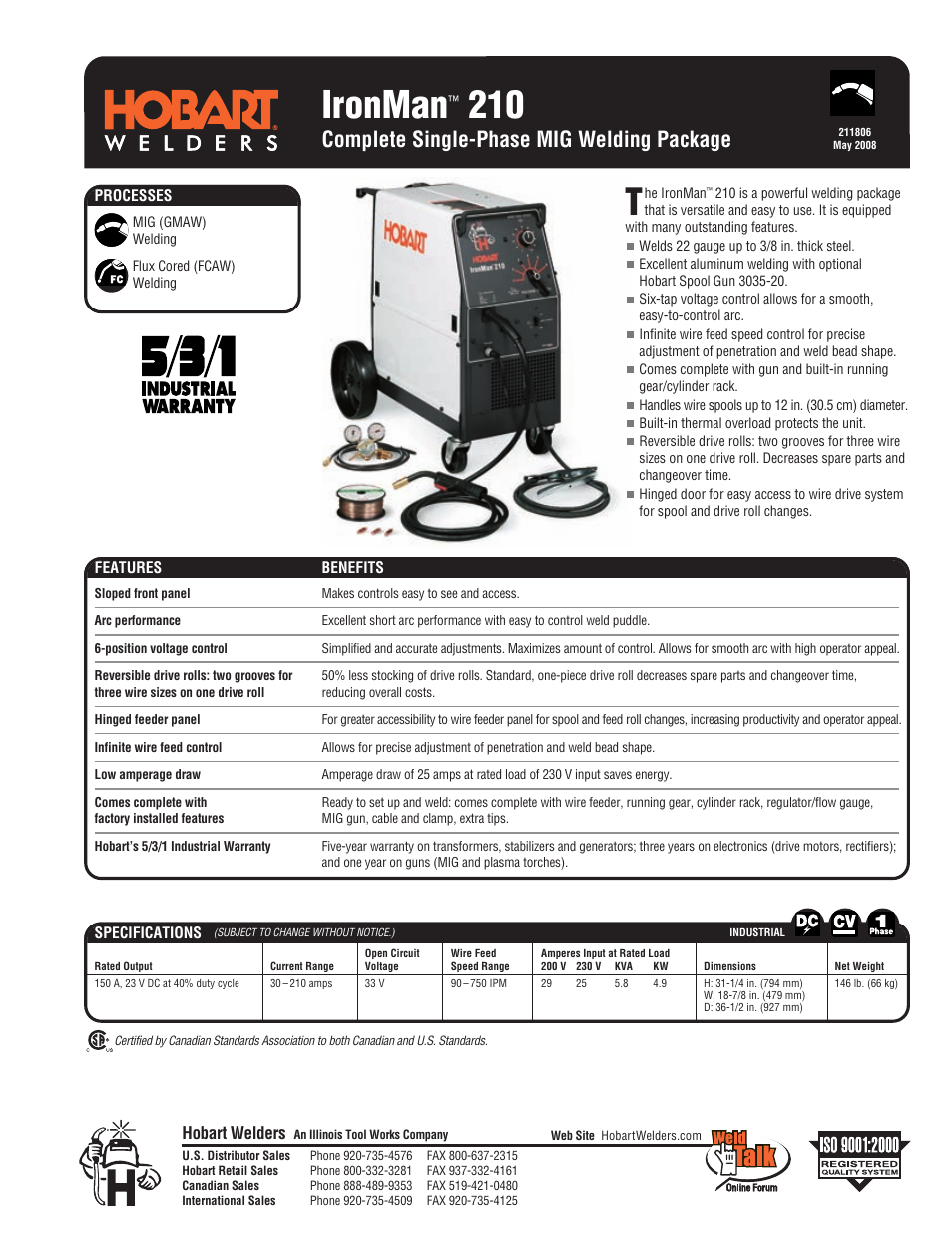 Hobart Welding Products IronMan 210 User Manual | 4 pages