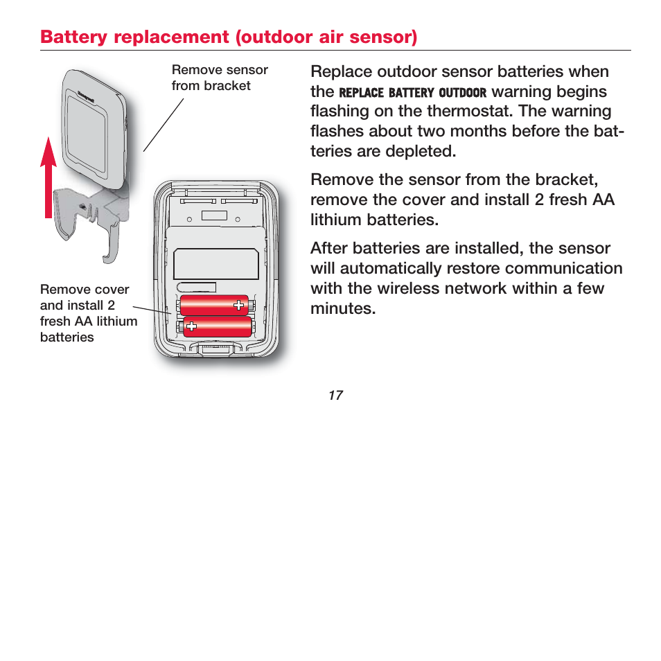 Battery replacement (outdoor air sensor) | Honeywell