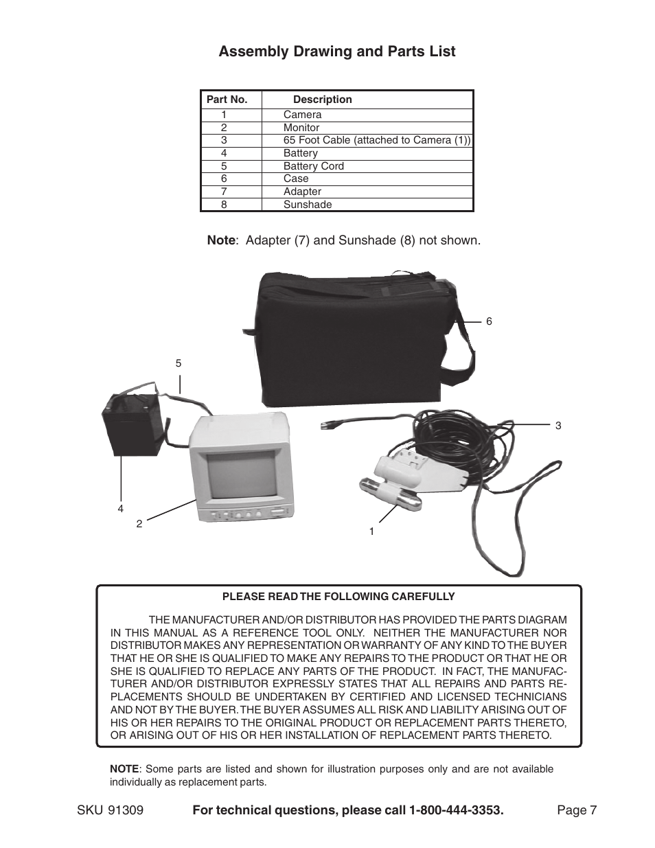 Assembly Drawing And Parts List Harbor Freight Tools 91309 User Camera Wire Diagram Manual Page 7