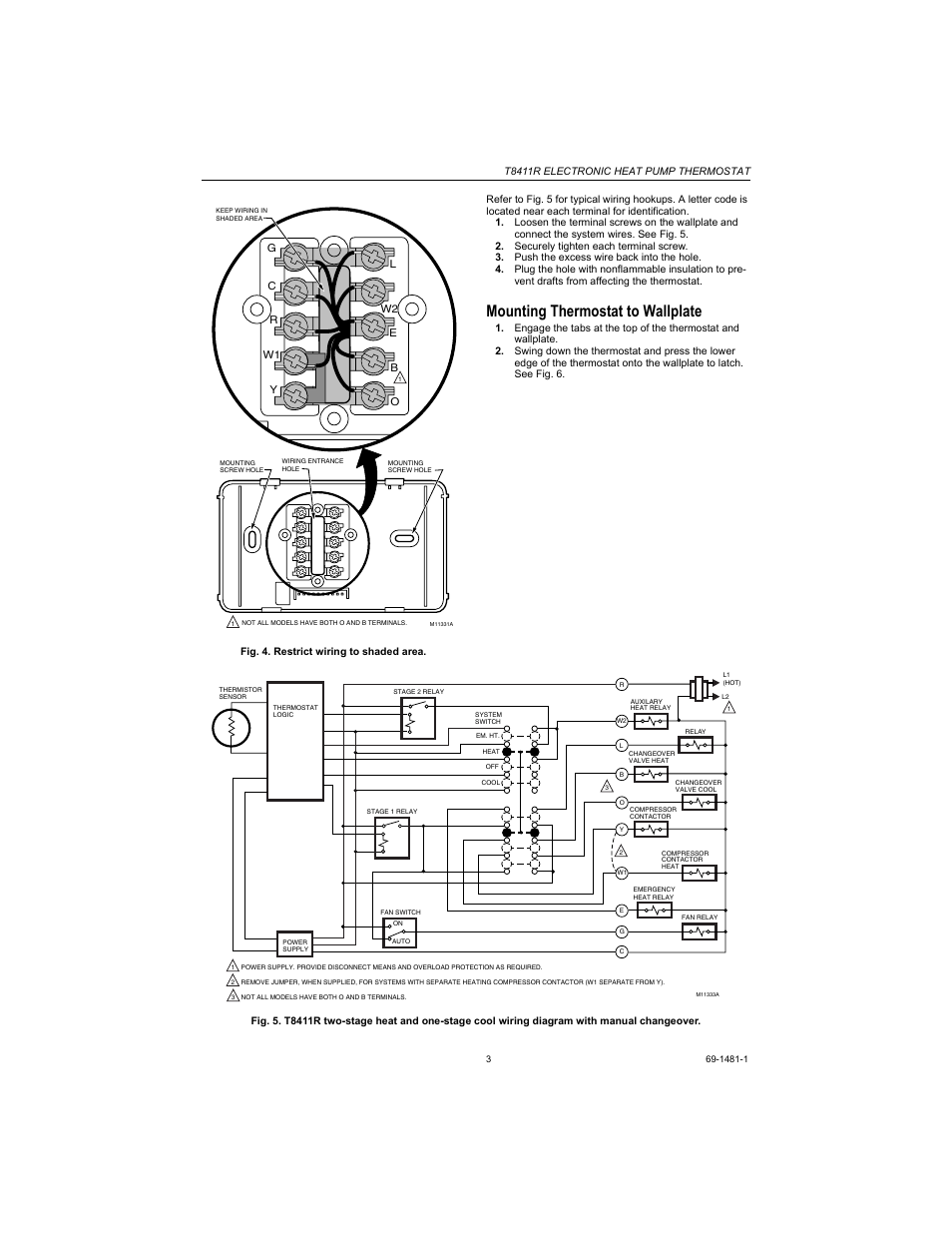 T8411r Wiring Diagram Schemes Trane Heat Pump Thermostat Colors Mounting To Wallplate Honeywell Rh Manualsdir Com Old Thermostats 5 Wire