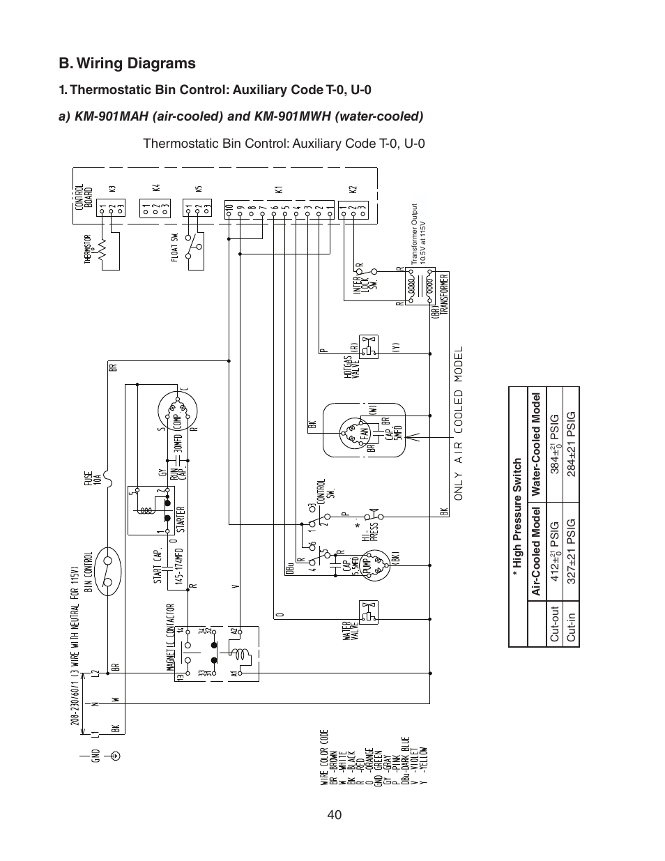 B Wiring Diagrams Thermostatic Bin Control Auxiliary Code T 0 U Model Diagram Hoshizaki Km 901mwh User Manual Page 40 87