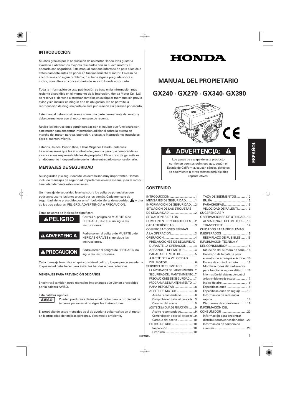 espa ol manual del propietario honda gx270 user manual page 41 60 rh manualsdir com