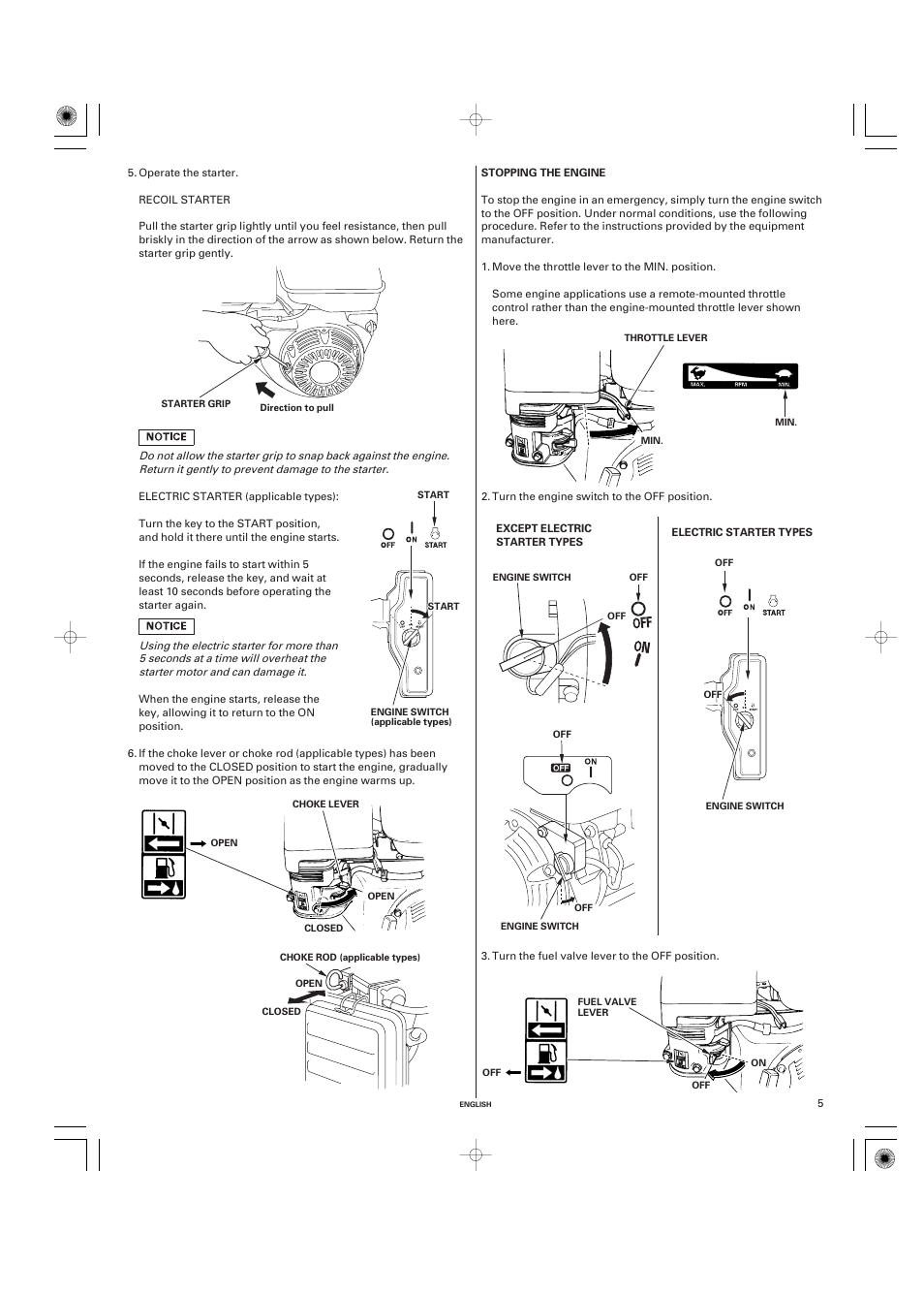 Stopping The Engine Honda Gx270 User Manual Page 5 60 16 Valve Diagram