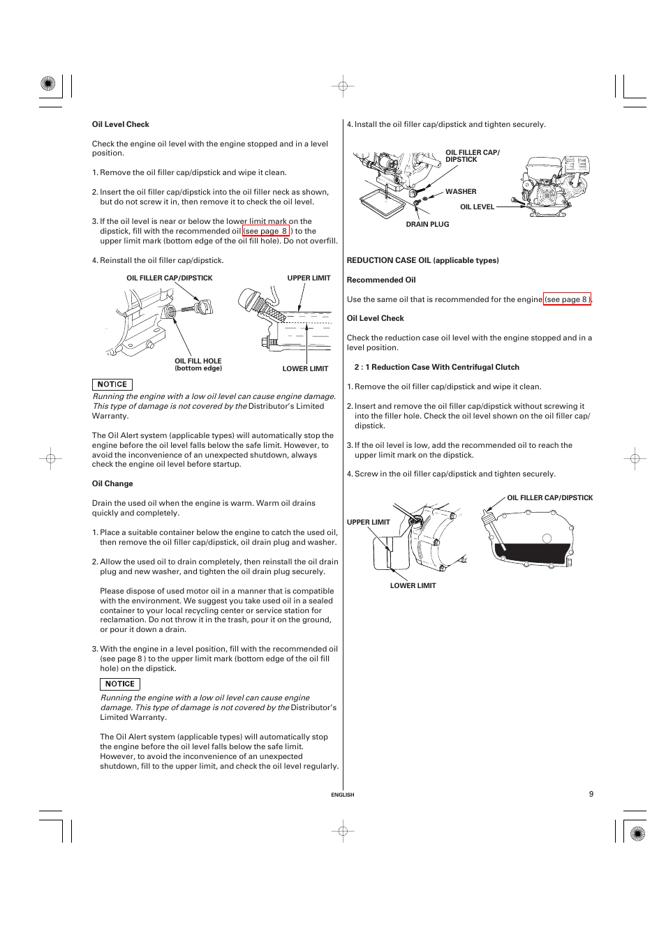 Oil level check | HONDA GX270 User Manual | Page 9 / 60