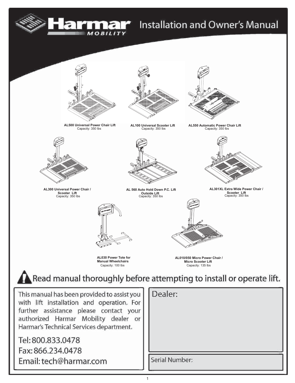 Harmar Mobility AL500 User Manual | 36 pages on
