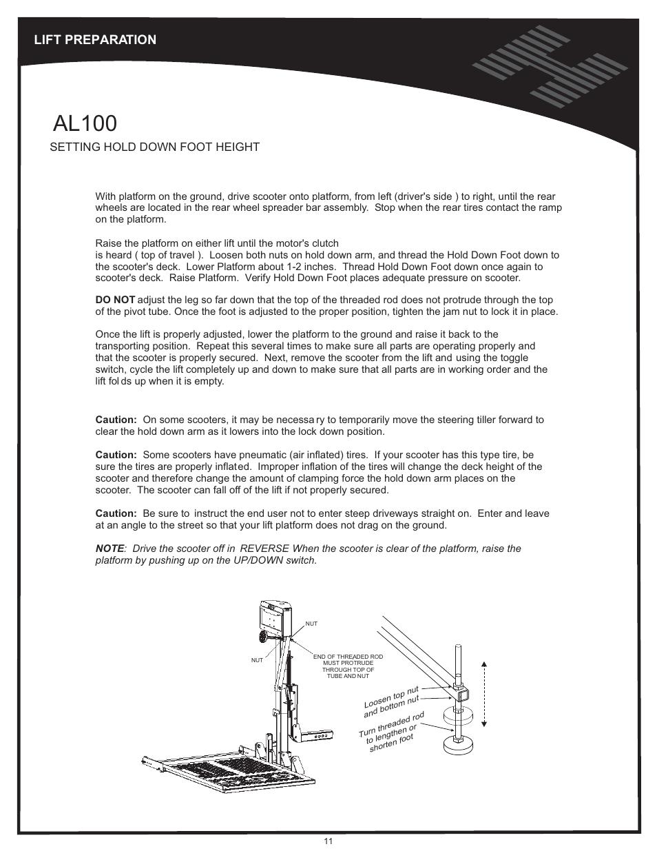 Hold down arm adjustment - al100, Al100, Lift preparation ... Harmar Al Scooter Lift Wiring Diagram on harmar al600 wiring harness, polaris sportsman 500 wiring diagram, harmar dealer locator, harmar al600 manual, harmar mobility dealers, electric bike controller wiring diagram, pride scooter wiring diagram,