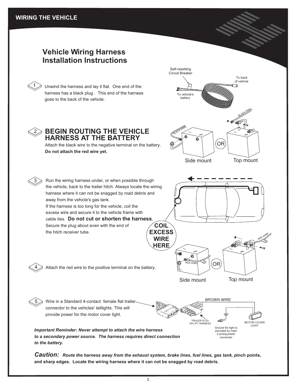 Wiring the vehicle, Vehicle wiring harness installation instructions, Begin  routing the vehicle harness at the battery | Harmar Mobility AL500 User  Manual | Page 3 / 36Manuals Directory