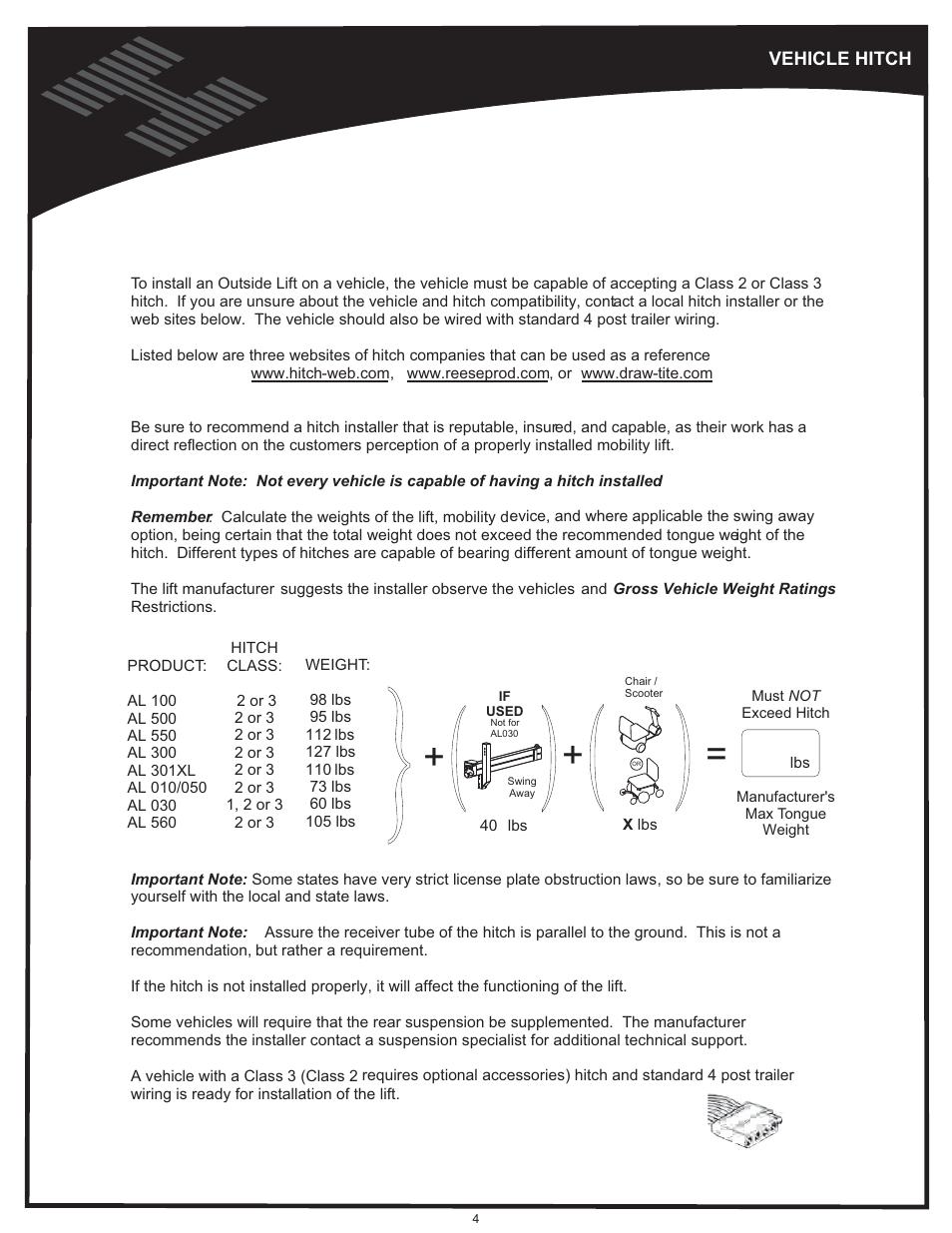 Vehicle hitch   Harmar Mobility AL500 User Manual   Page 4 / 36 on harmar al600 wiring harness, polaris sportsman 500 wiring diagram, harmar dealer locator, harmar al600 manual, harmar mobility dealers, electric bike controller wiring diagram, pride scooter wiring diagram,