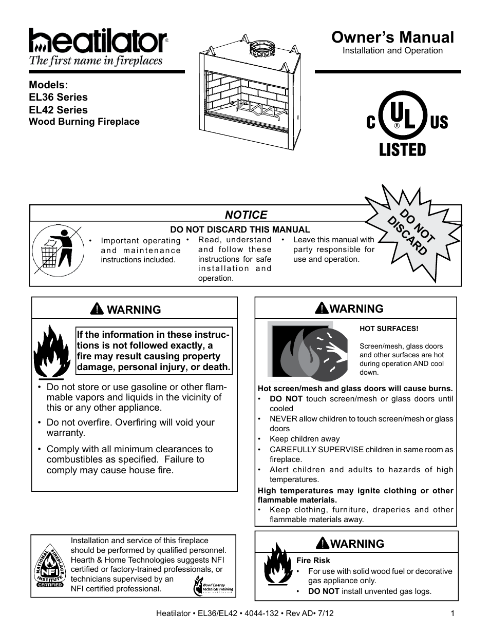 Hearth And Home Technologies El36 User Manual 54 Pages Also For