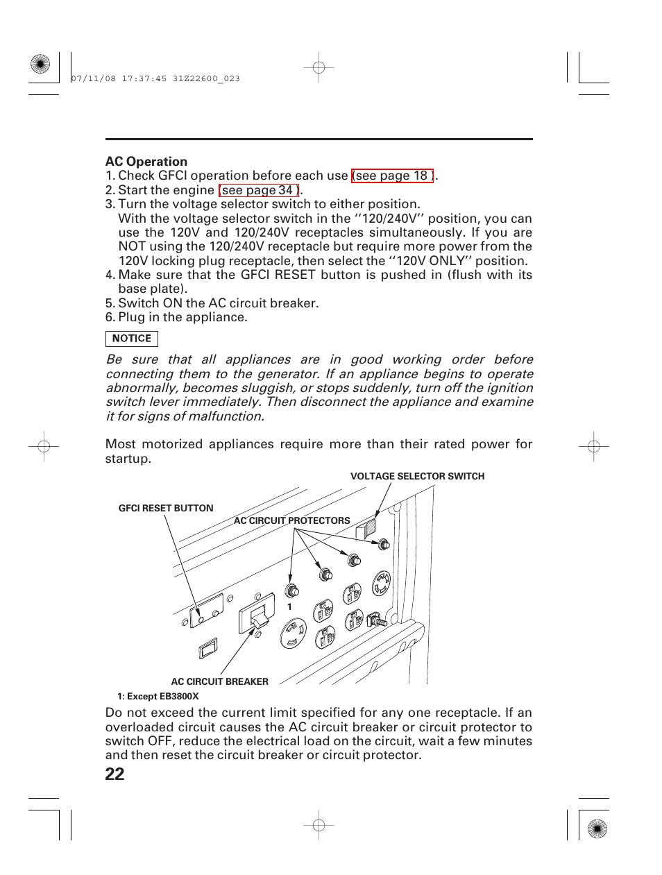 Ac Operation Honda Eb5000x User Manual Page 24 71 Circuit For Dummies