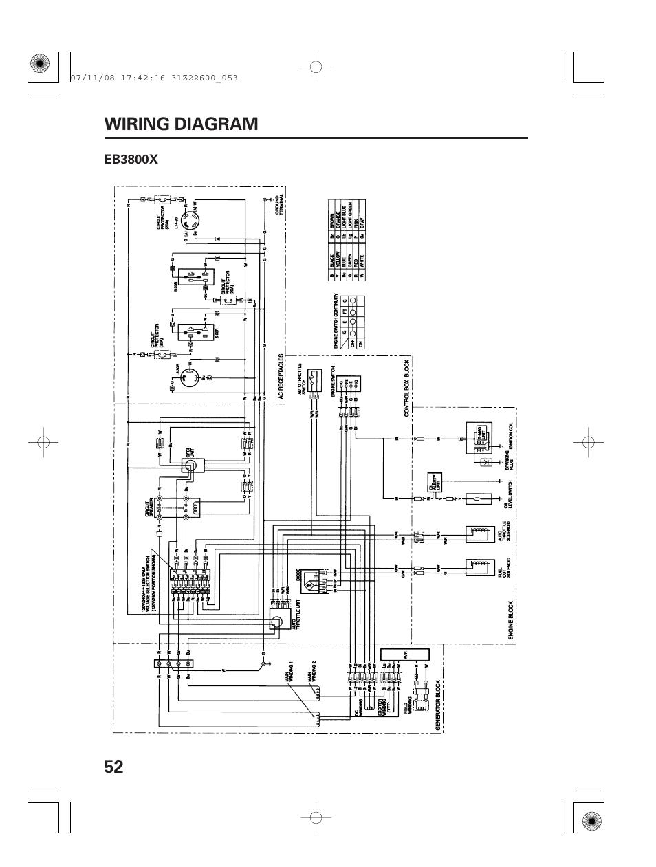 Wiring Diagram Eb3800x 52 Wiring Diagram Honda Eb5000x User Manual Page 54 71
