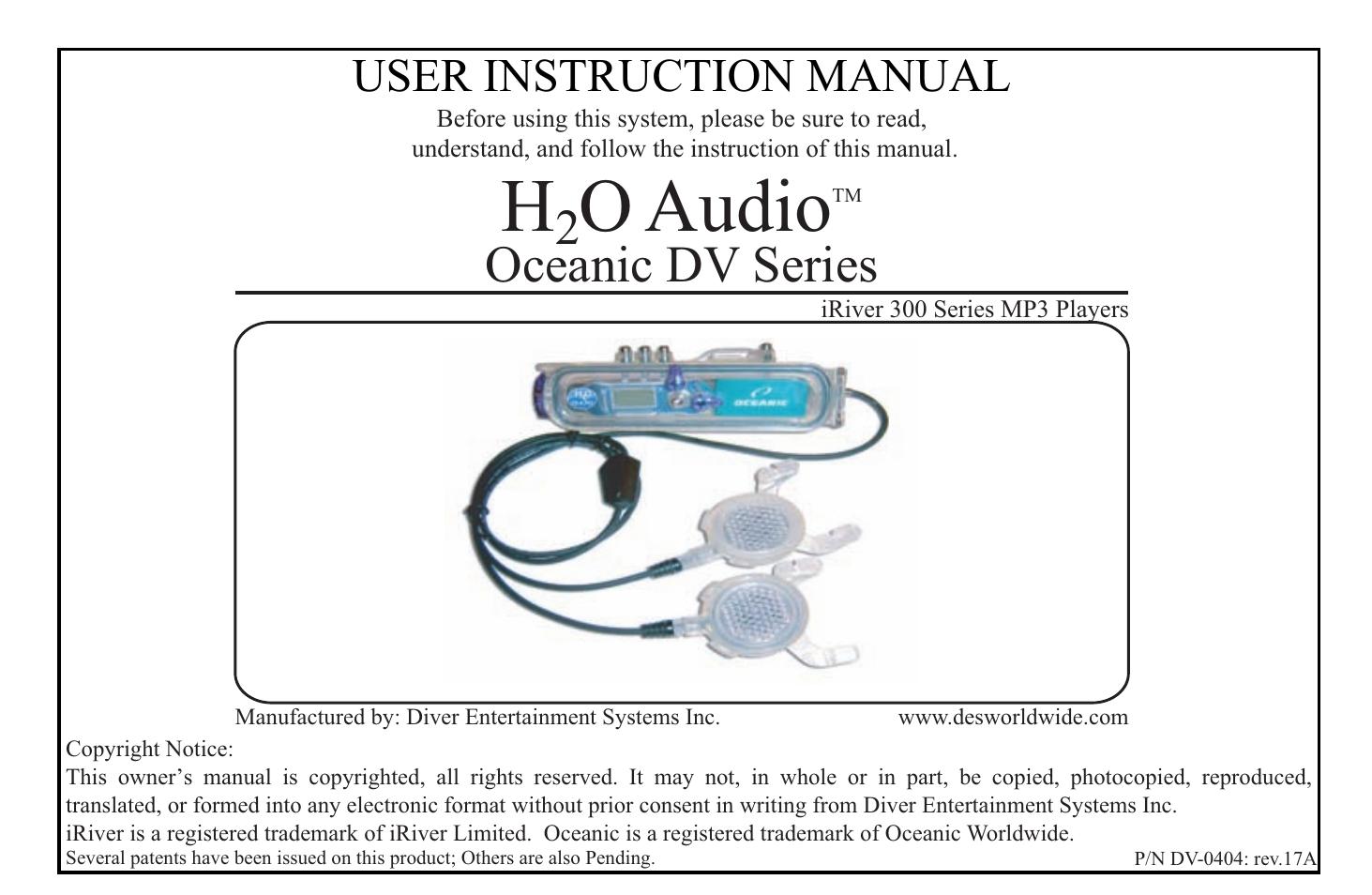 x 1 h2o audio oceanic dv series user manual 18 pages rh manualsdir com Sony Waterproof Headphones H2O Audio for iPod Nano