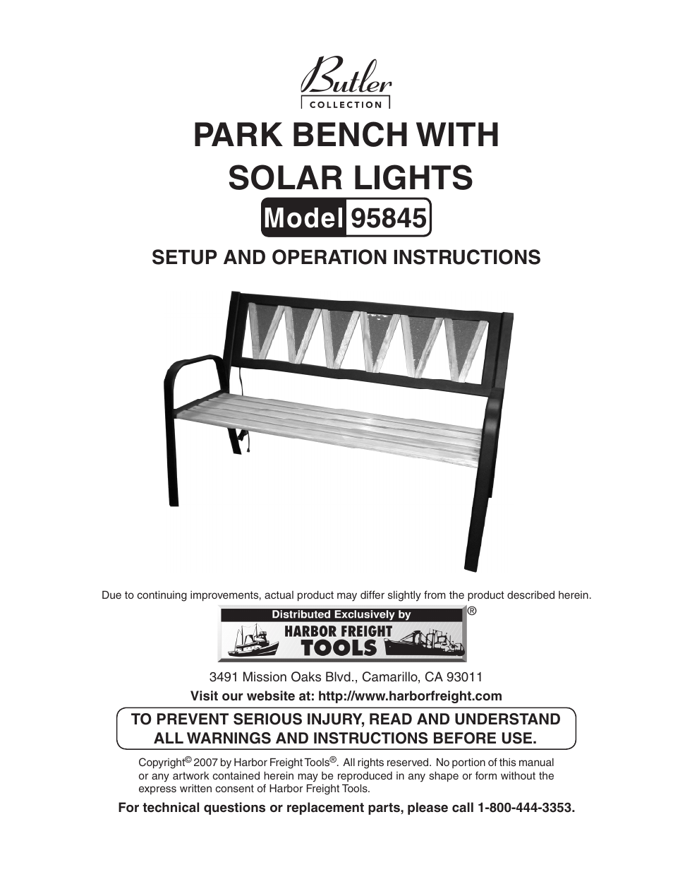 Harbor Freight Tools Butler 95845 User Manual 8 Pages