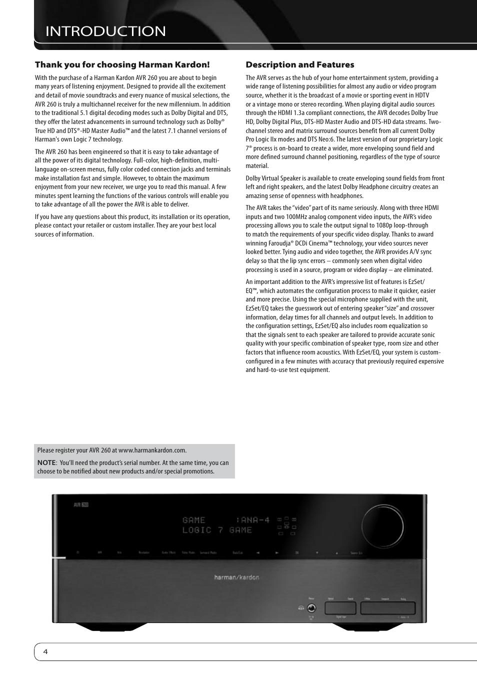 introduction harman kardon avr 260 user manual page 4 54 rh manualsdir com Harman Kardon AVR 525 Harman Kardon AVR 1650