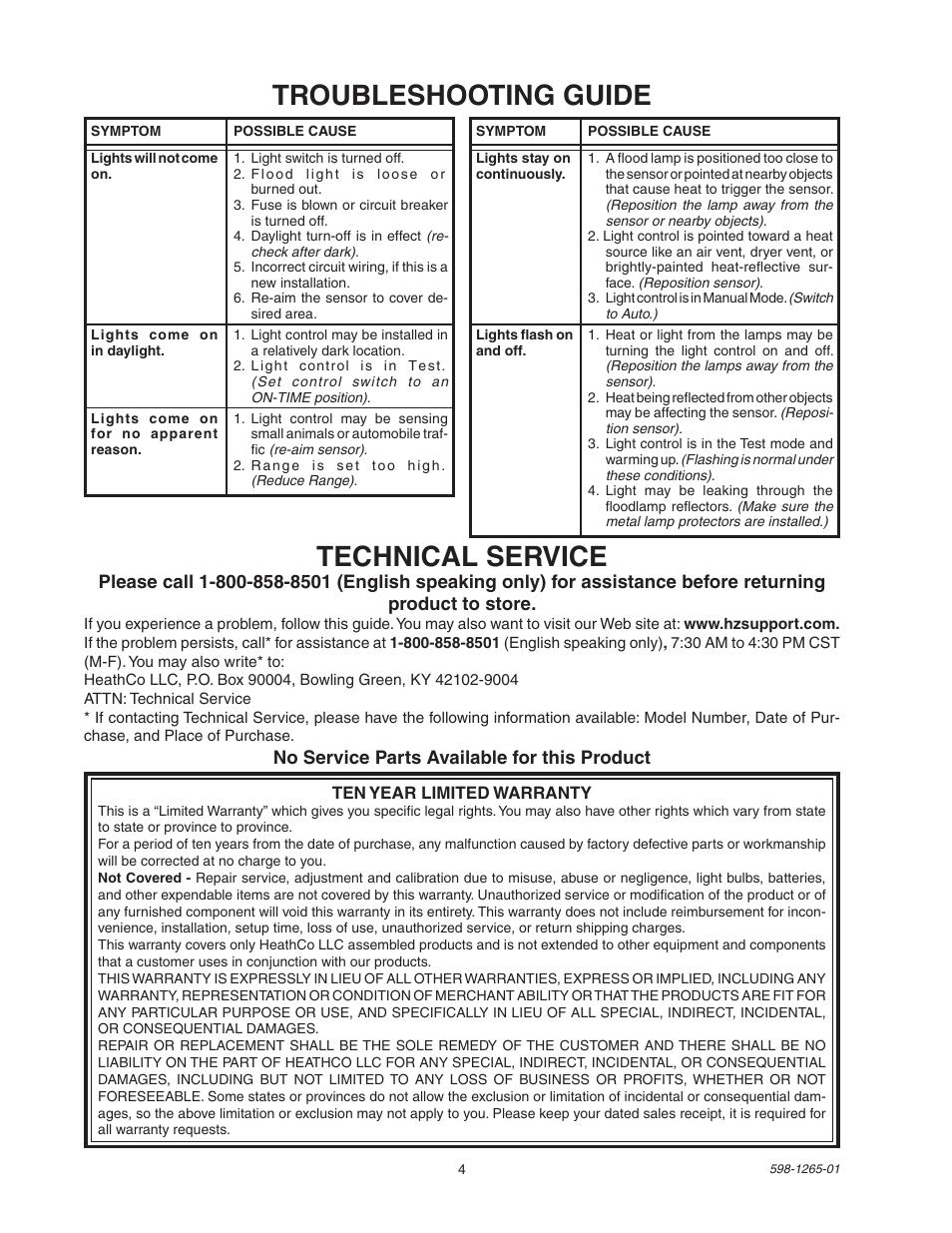 Troubleshooting guide, Technical service   Heath Zenith Motion Sensor Light  Control SL-5412 User