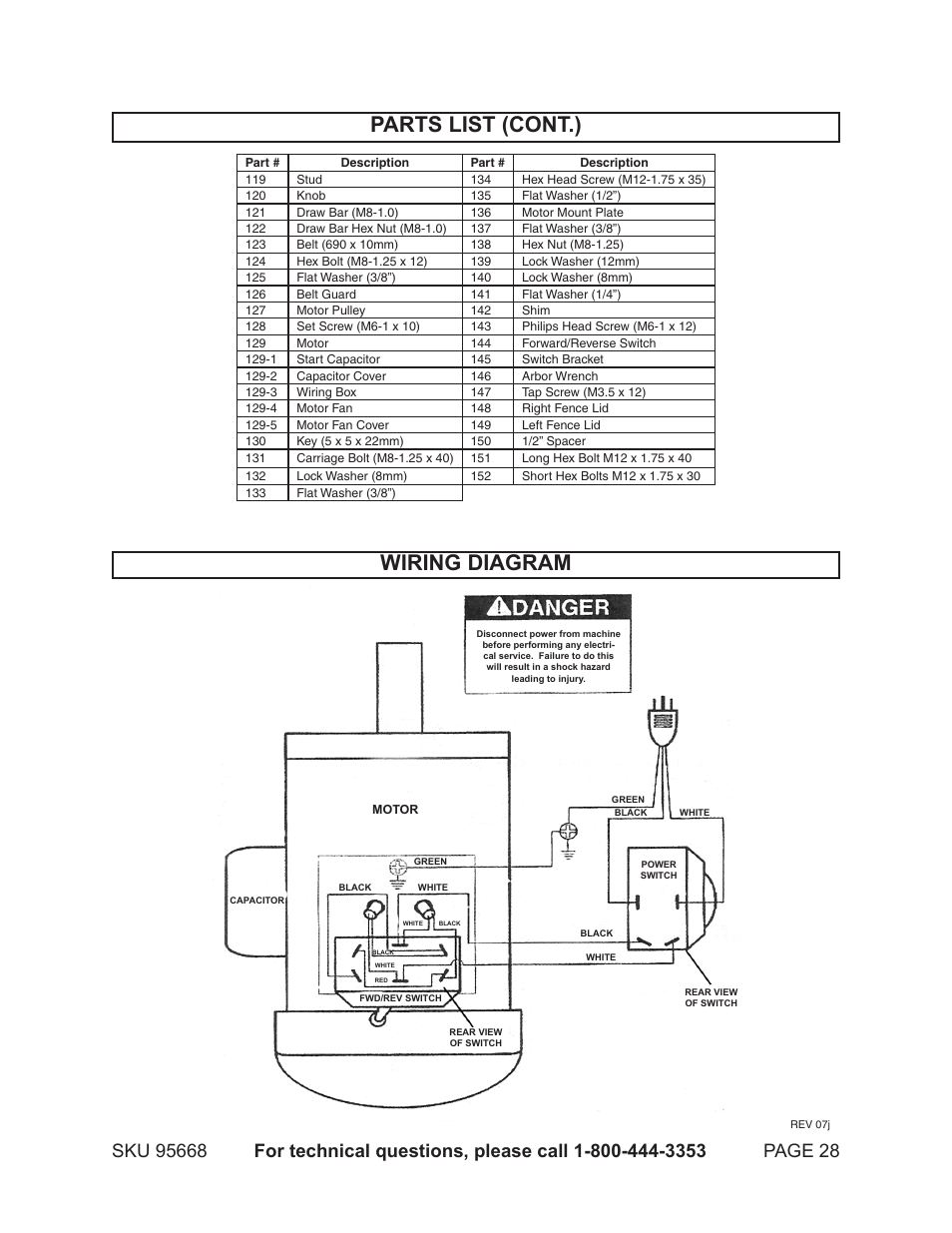 Parts List  Cont   Wiring Diagram