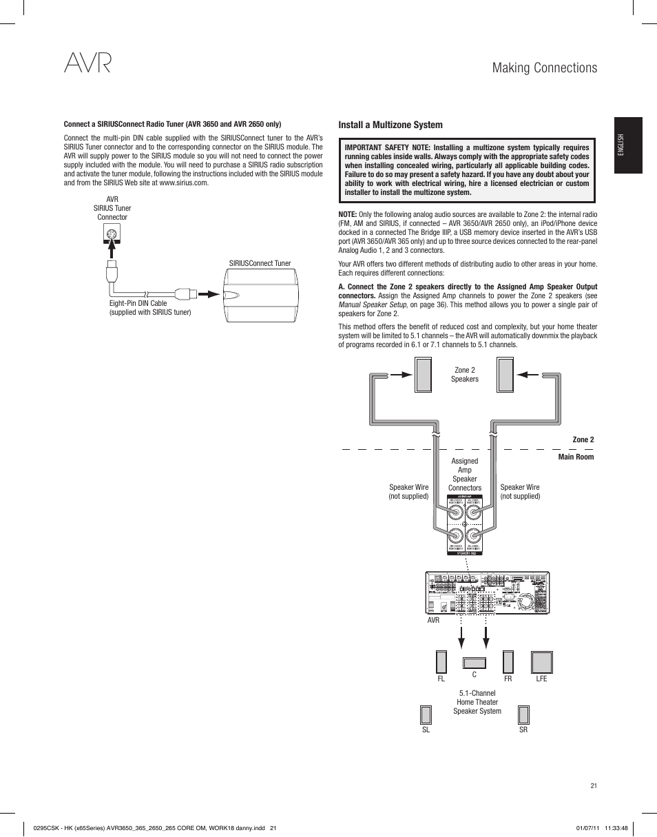 Making connections | Harman-Kardon AVR 265 User Manual | Page 21 / 62
