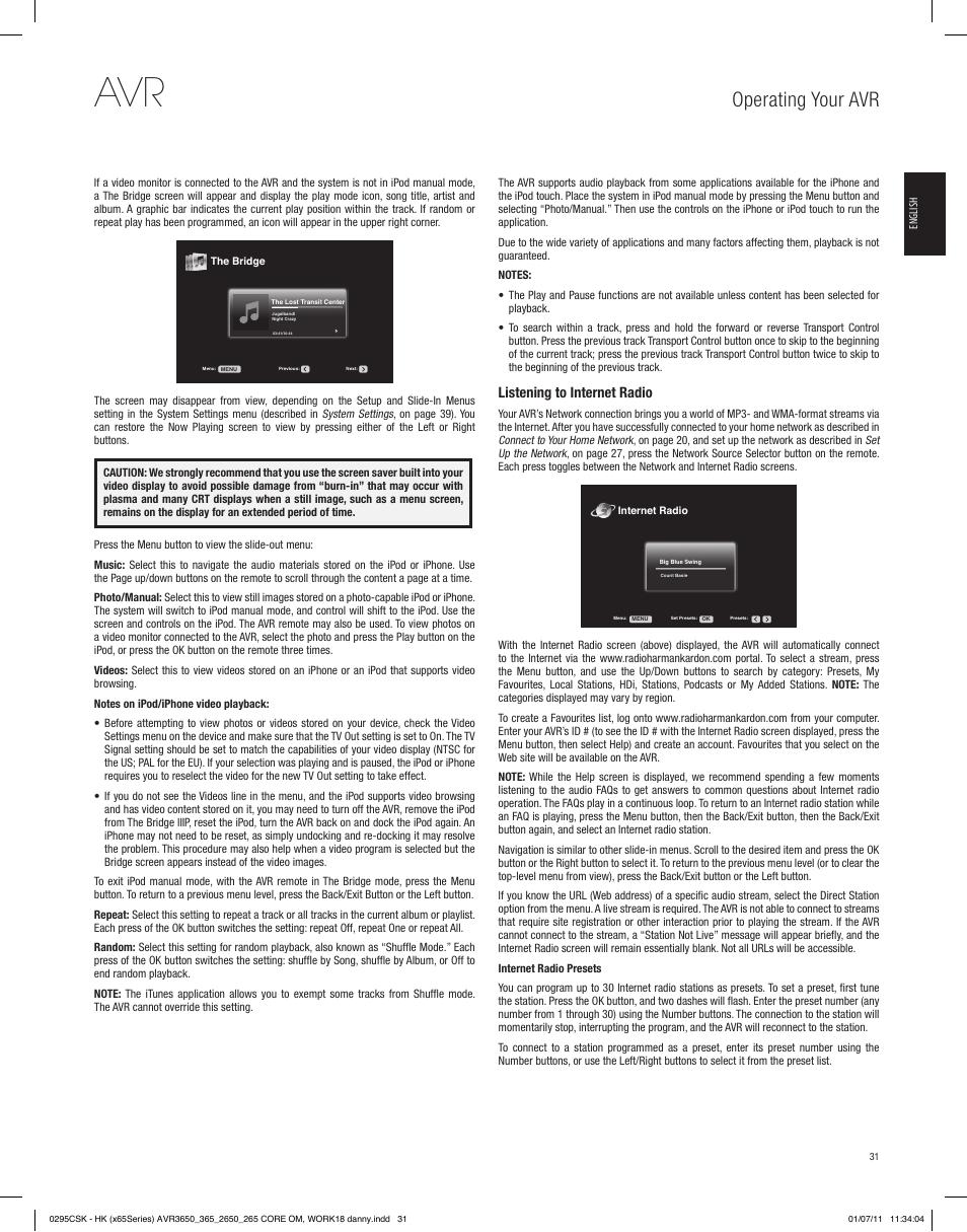 operating your avr listening to internet radio harman kardon avr rh manualsdir com Harman Kardon Logo harman kardon avr 2650 manual