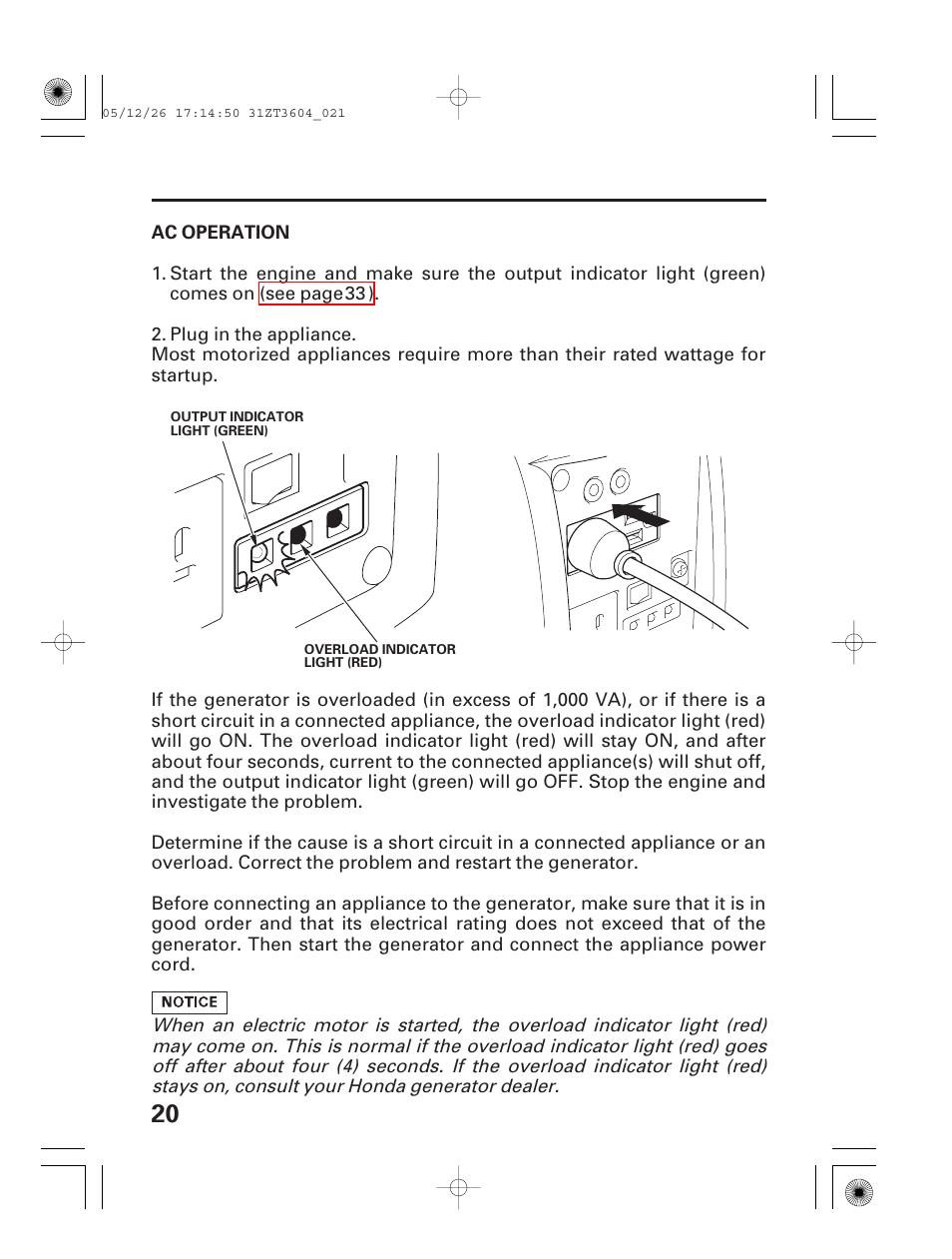 Ac operation | HONDA EU1000i User Manual | Page 22 / 71