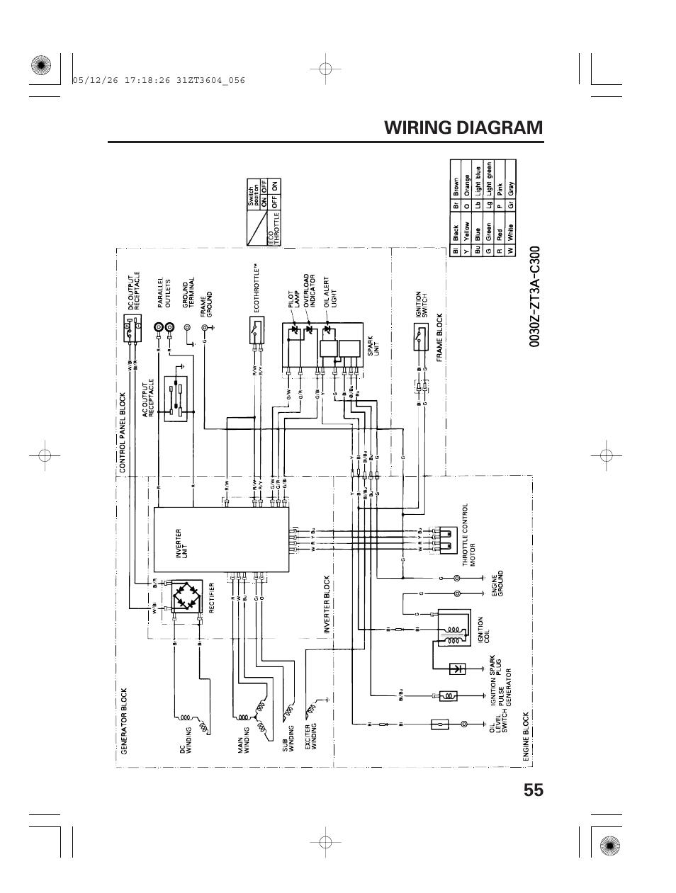 Wiring diagram, 55 wiring diagram | HONDA EU1000i User Manual | Page 57 / 71