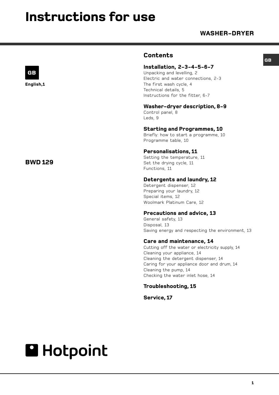 hotpoint bwd 129 user manual page 3 20 original mode rh manualsdir com
