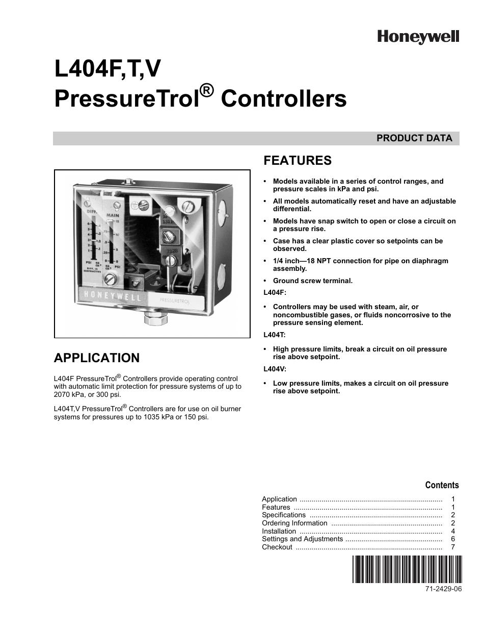 honeywell pressuretrol l404t user manual