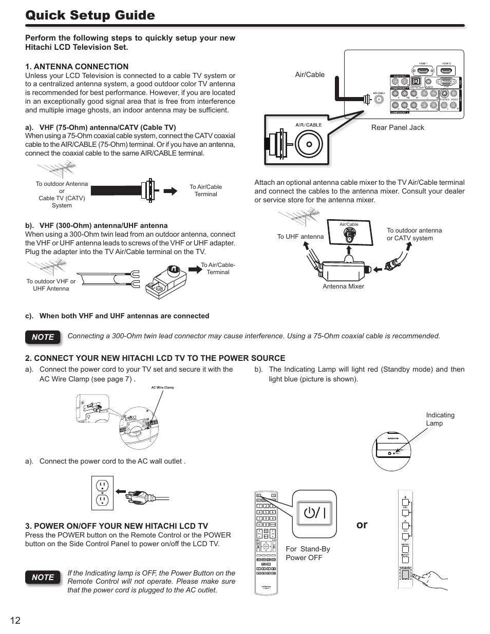 Quick Setup Guide Hitachi Ultravision L32s504 User Manual Page Cable Tv Wiring Services 12 60