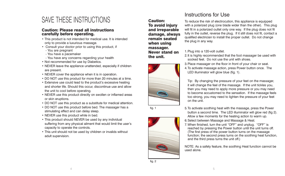Save These Instructions Instructions For Use Homedics Shiatsu