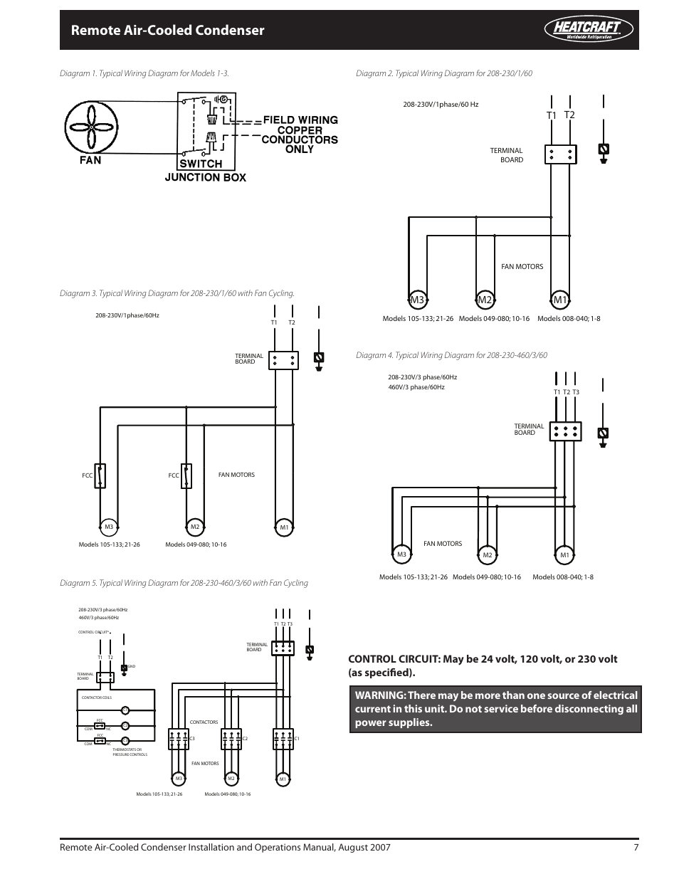 remote air cooled condenser, t1 m1 m2 m3 heatcraft refrigeration Telecaster Wiring-Diagram