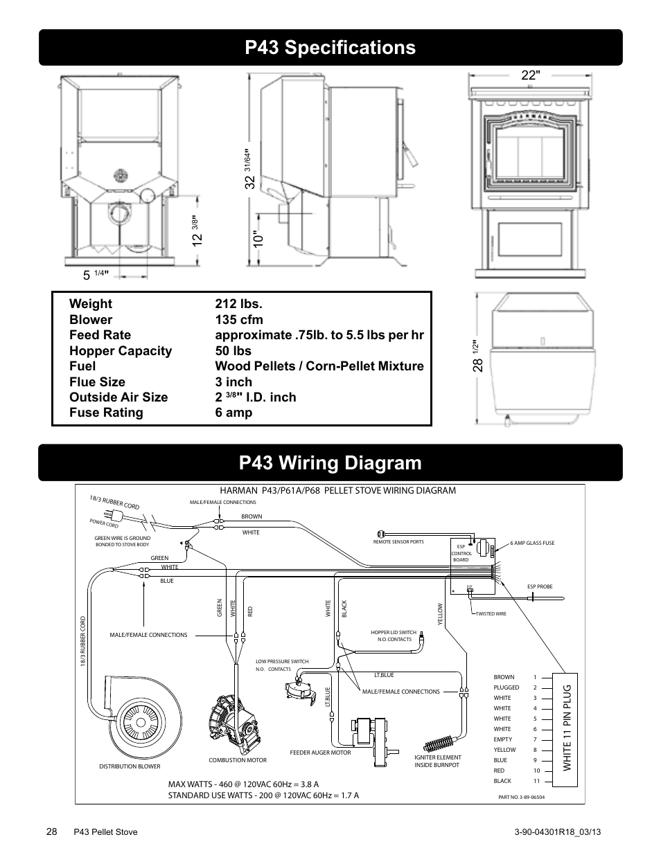 p43 specifications p43 wiring diagram i d inch fuse rating 6 harman stove company