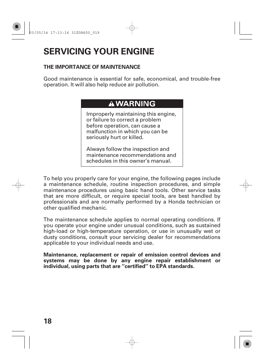 Servicing Your Engine The Importance Of Maintenance Honda Gxv530 User Manual Page 20 60