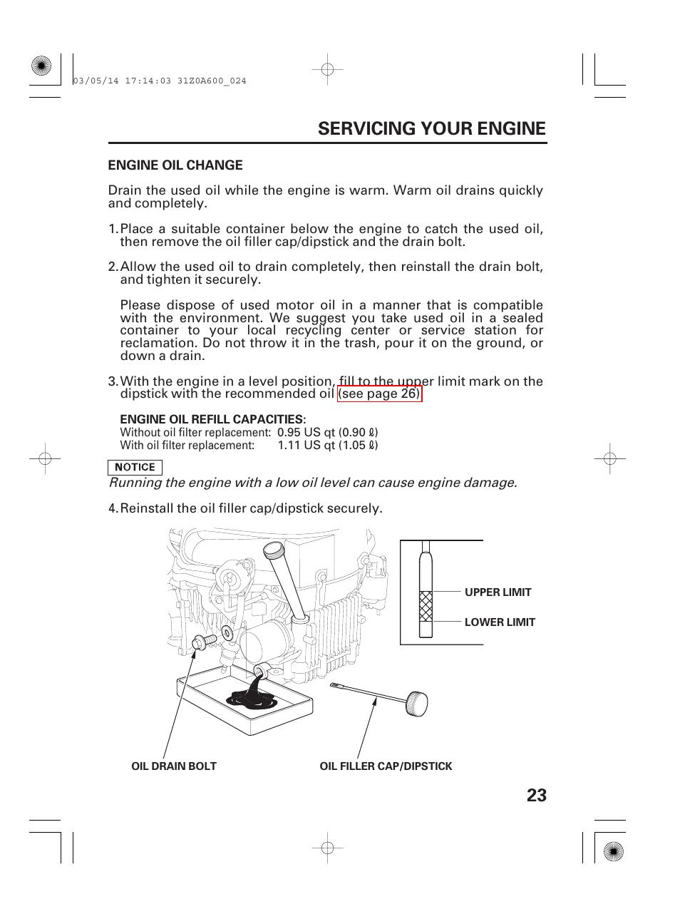 Engine oil change, 23 servicing your engine | HONDA GXV530 User Manual |  Page 25 / 60