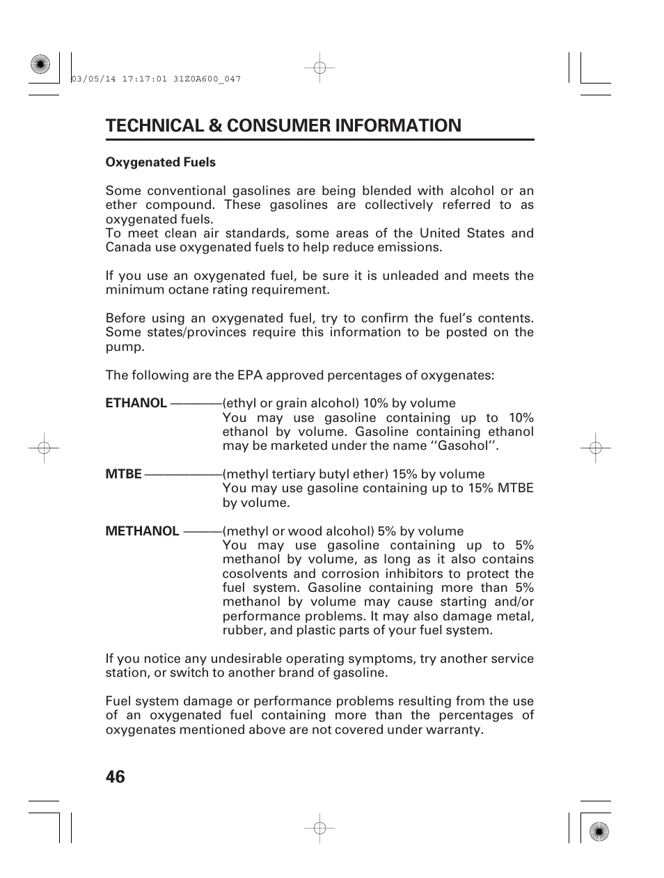 Oxygenated fuels, 46 technical & consumer information | HONDA GXV530 User  Manual | Page 48 / 60