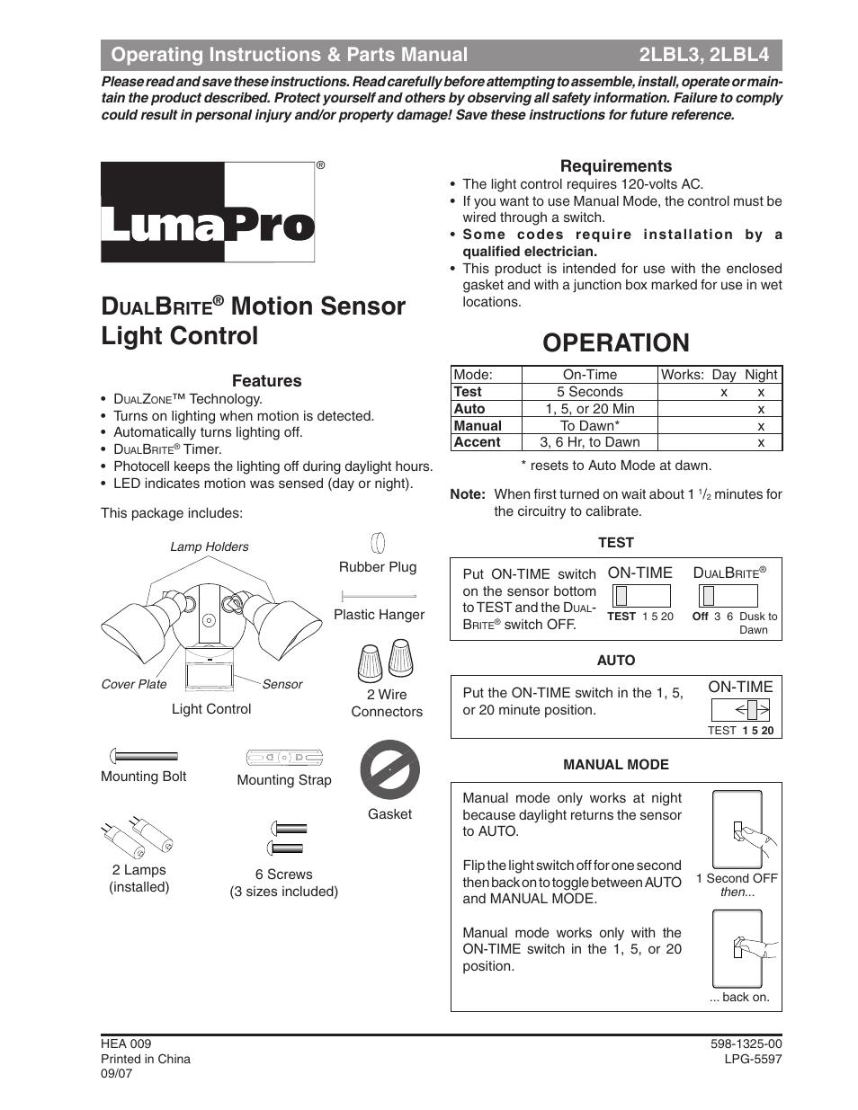 Heath Zenith Dualbrite Motion Sensor Light Control 2lbl3 User Manual 16 Pages Also For Dualbrite Motion Sensor Light Control 2lbl4