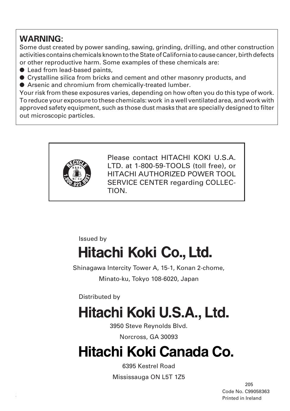 Hitachi koki canada co, Warning | Honeywell DN 10DY User