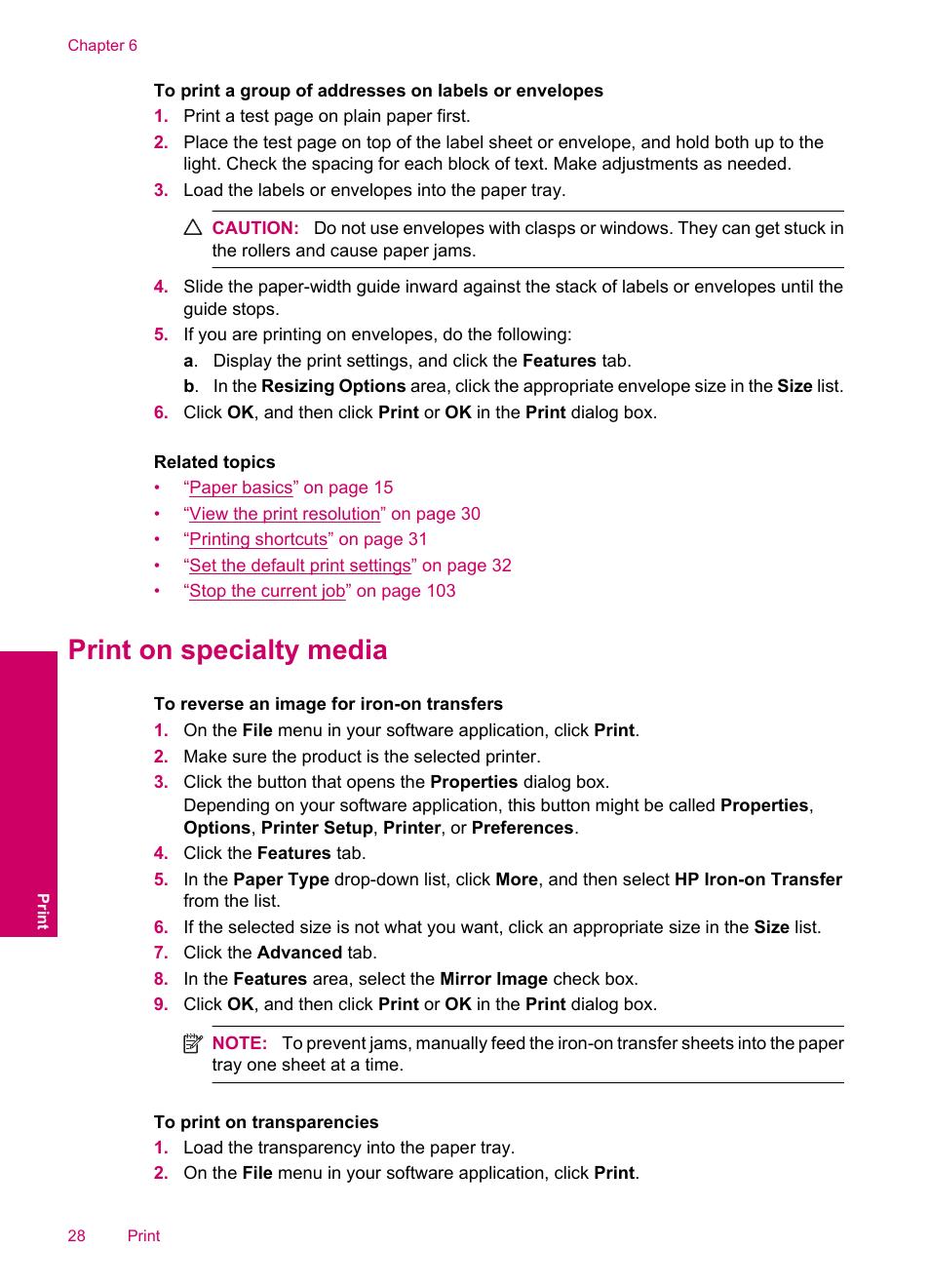 Print on specialty media | HP Photosmart C4780 User Manual