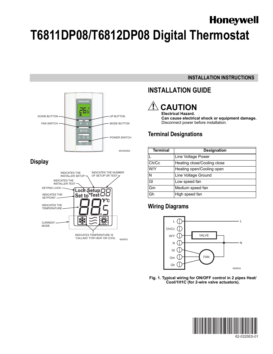 Honeywell Digital T6811dp08 User Manual 8 Pages 2 Wire Actuator Wiring