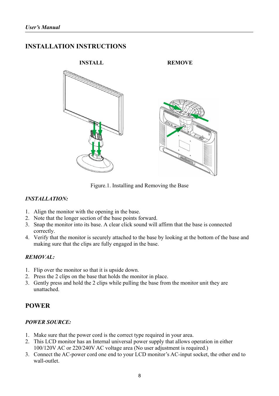 Installation instructions, Power | HANNspree HF207 User ... on