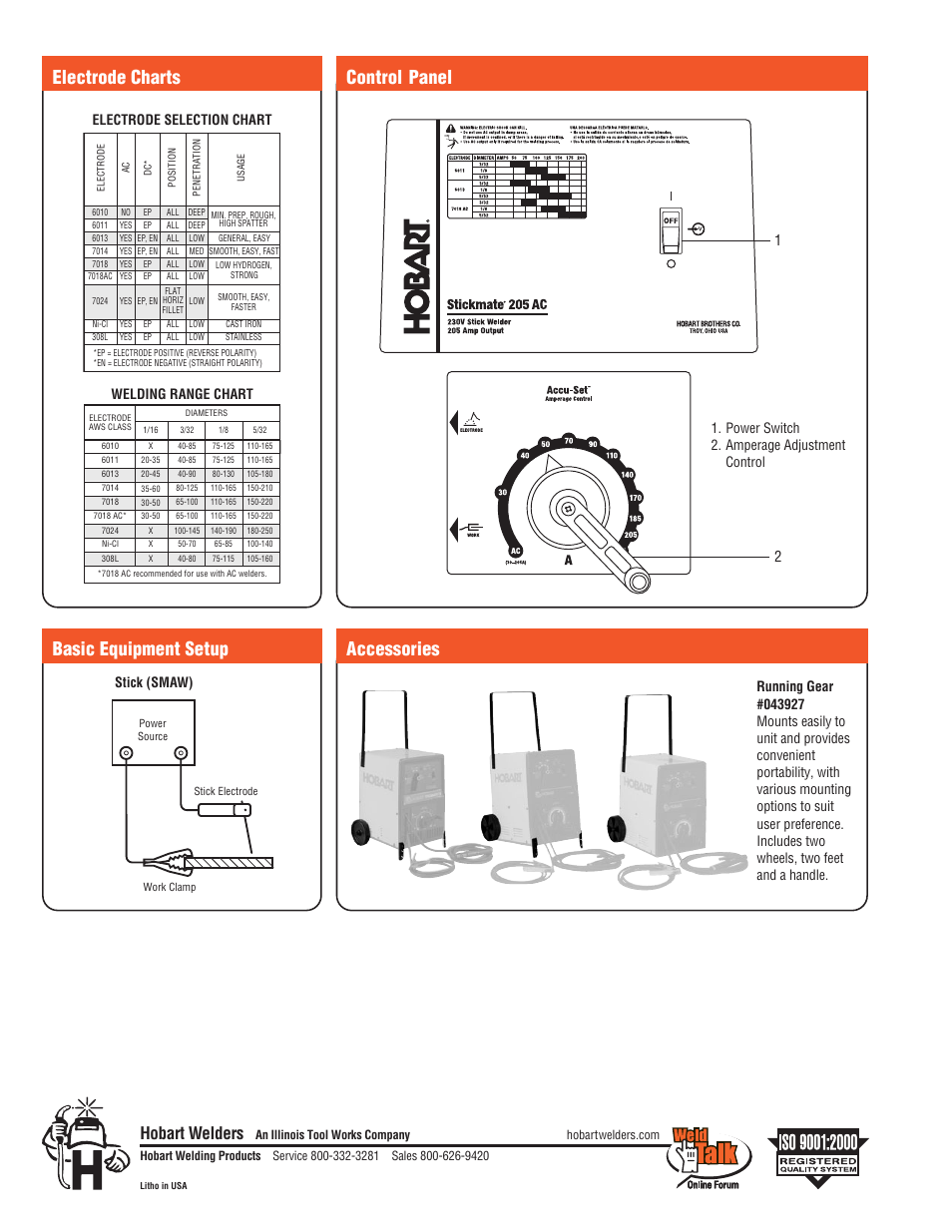 Control Panel Accessories Electrode Charts Basic Equipment Setup Welding Diagram Hobart Welders Products Stickmate 205 Ac User Manual Page 2