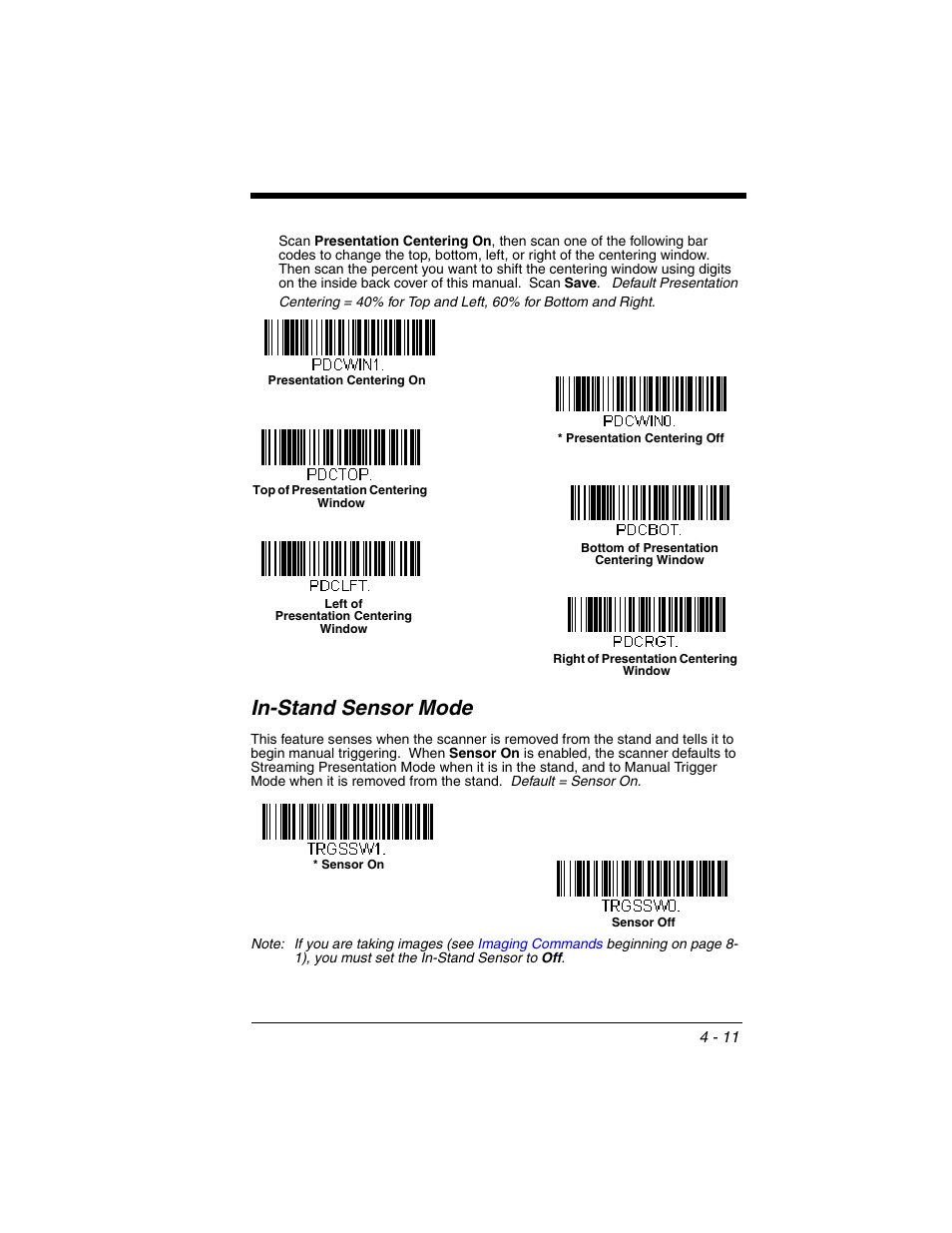 In-stand sensor mode, In-stand sensor mode -11 | Honeywell