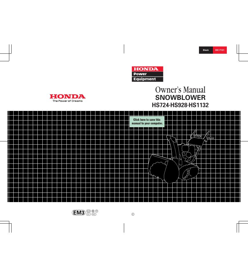 Honda Snowblower Hs724 User Manual
