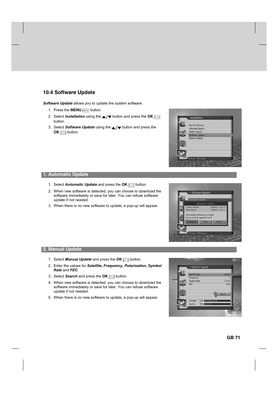 4 software update | Humax HDCI-2000 User Manual | Page 72 / 86