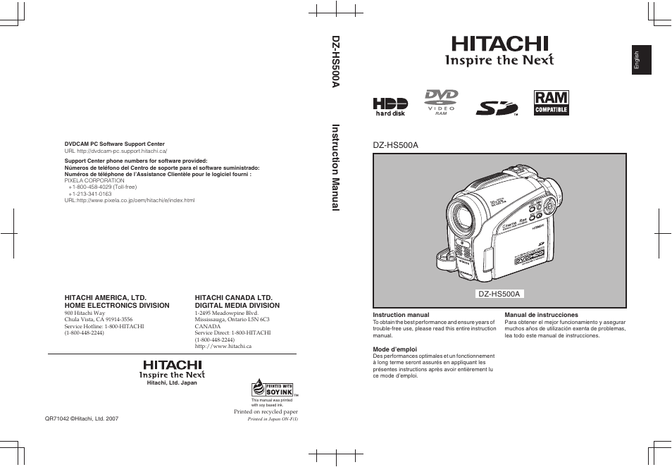 hitachi dz hs500a user manual 169 pages rh manualsdir com Hitachi Bx35a Adapter Charger Hitachi DZ-BX37A Camcorder