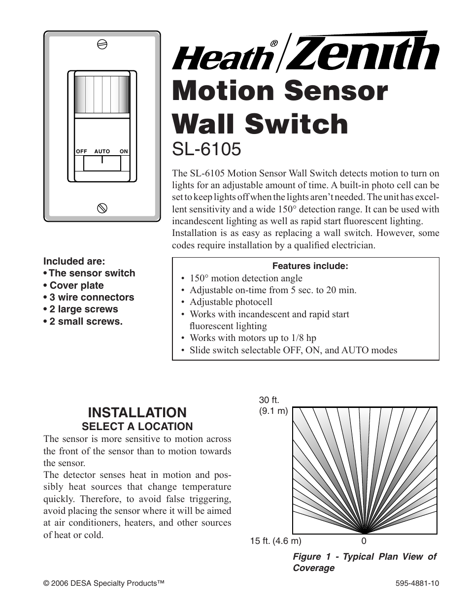 Heath Zenith Motion Sensor Wall Switch Sl 6105 User Manual 12 Pages Wiring Diagram
