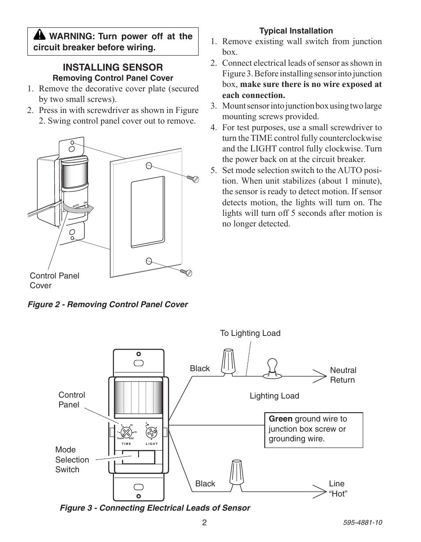 installing sensor heath zenith motion sensor wall switch sl 6105 rh manualsdir com Heath Zenith SL WH a Screw in Motion 5212 Heath Zenith Motion Sensor Manual
